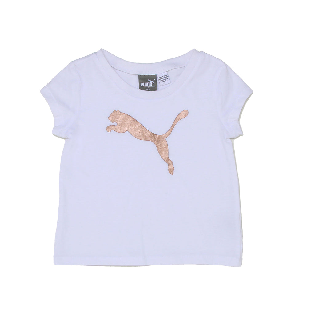 Girls PUMA short sleeve crew neck graphic tee in solid white with metallic rose gold big cat logo on chest