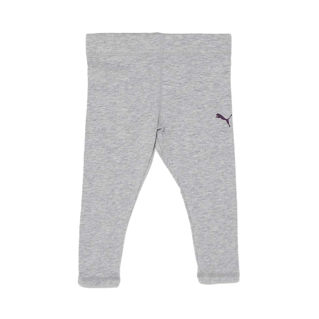 Girls PUMA light heather grey athletic workout gym stretch legging pant bottoms with black big cat logo on leg