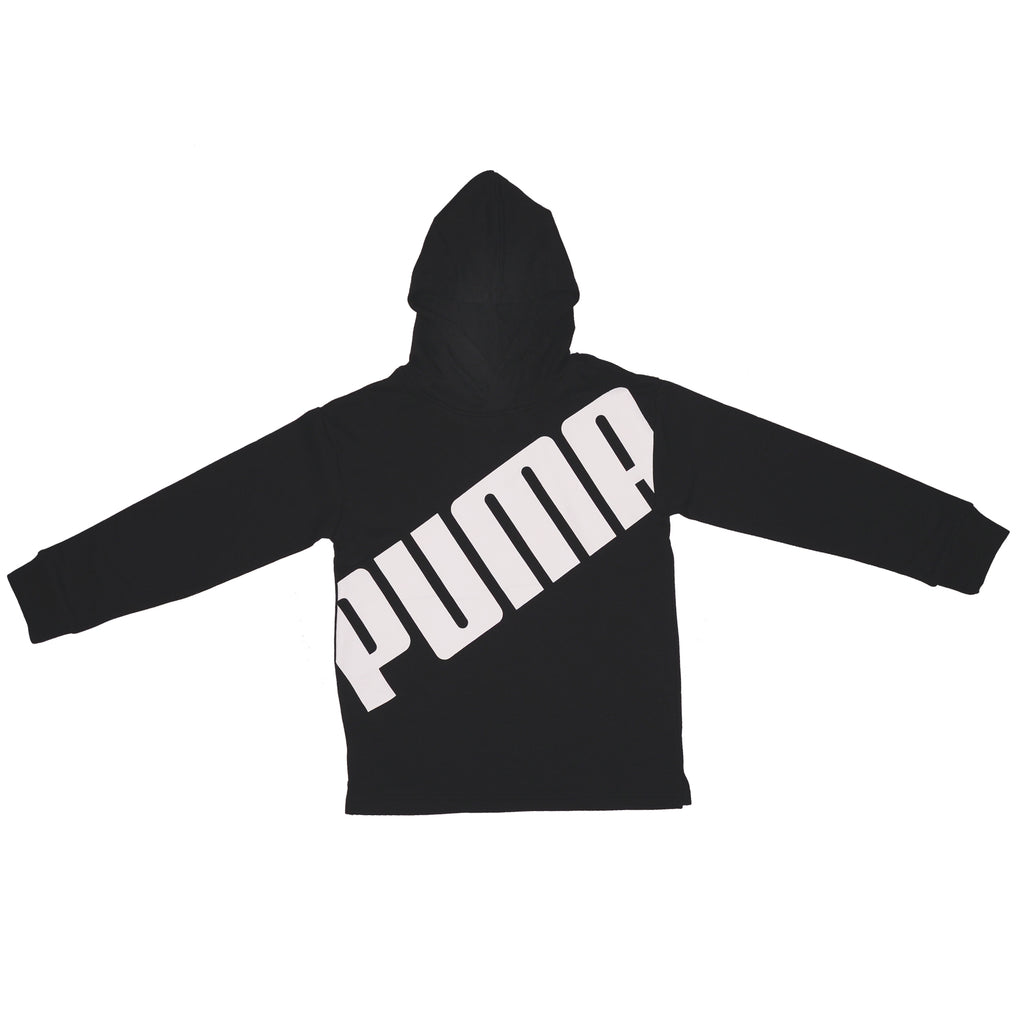 Boys black longsleeve hooded sweatshirt hoodie with PUMA block letter logo across chest in white