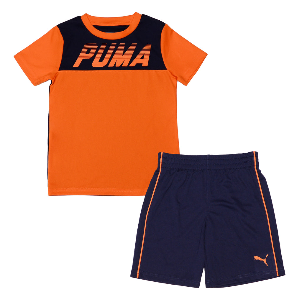 Puma boys 2 Piece Set Short Sleeve TShirt And Matching Shorts Top with PUMA Logo Across Chest and  Shorts with PUMA Big Cat Logo On Leg