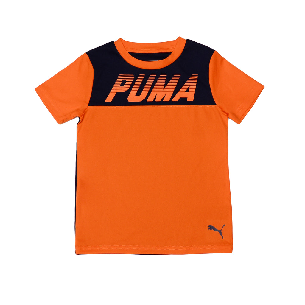 Puma Short sleeved Top made of breathable material fabric Features Constructed Panel Design And PUMA Logo Across Chest in orange color with navy blue
