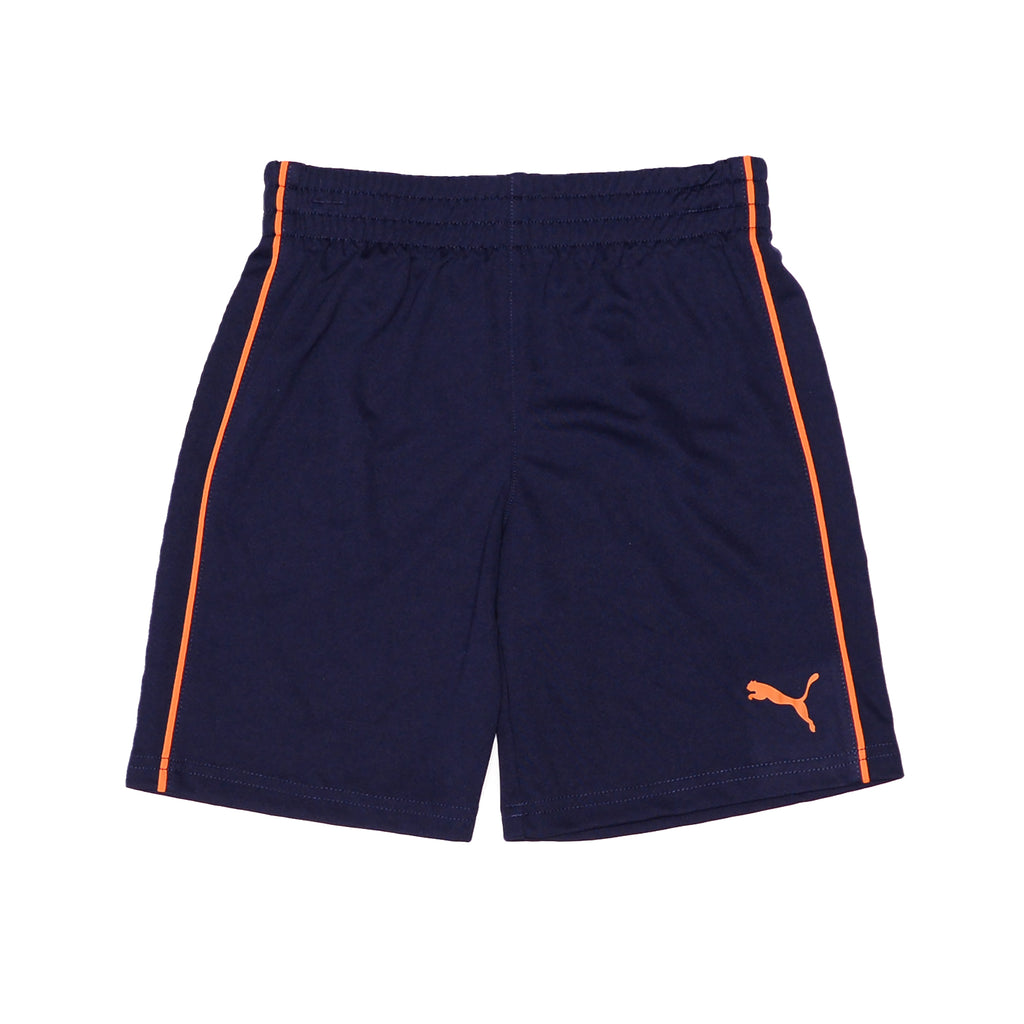 Puma boys shorts Feature Contrast Piping And PUMA Big Cat Logo On Leg Covered Elastic Waistband On Short For Comfortable Fit in navy blue and orange