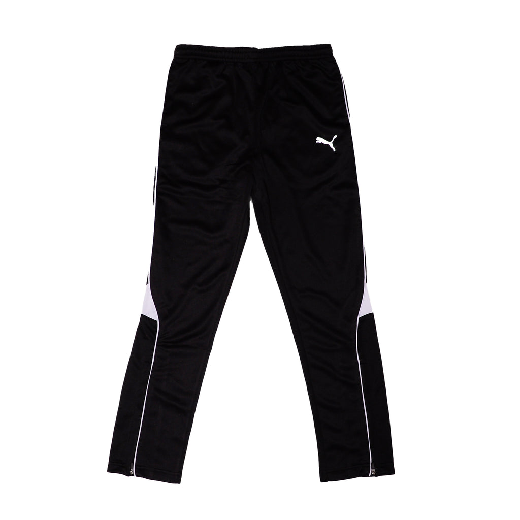 Puma Boys Athletic Performance Workout Training Pant with Covered Elastic Waistband Contrast Piping On Seams Hidden Zippers At Ankles Big Cat Logo