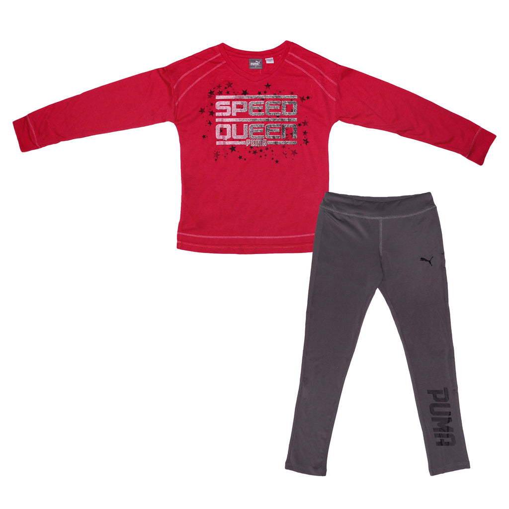 Little girls PUMA two piece set with longsleeve pink crewneck graphic tee speed queen verbiage shirt and grey legging pants