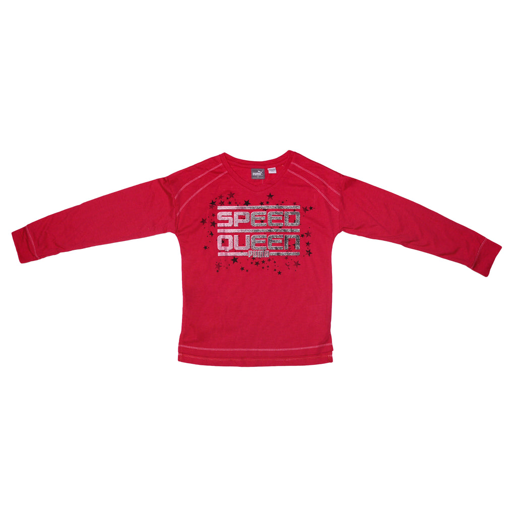 Little girls PUMA bright hot pink long sleeve crew neck graphic tee shirt with glitter design and Speed Queen verbiage