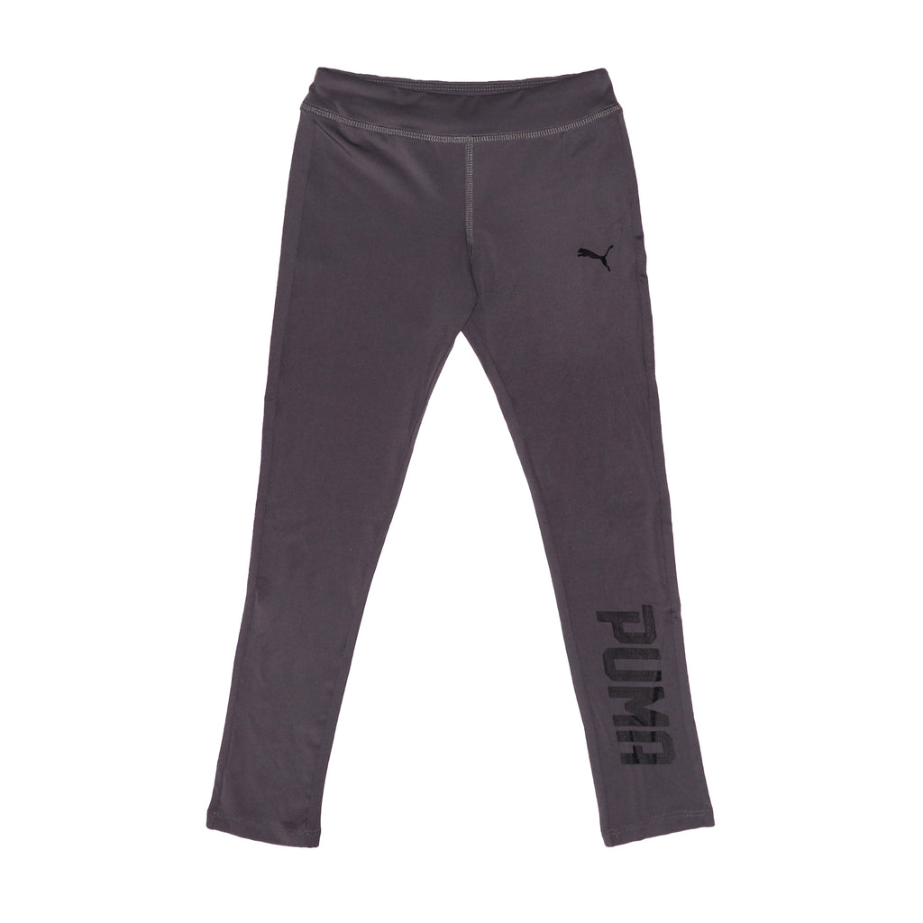 Little girls PUMA charcoal grey stretch athletic legging pant bottoms part of a set of two