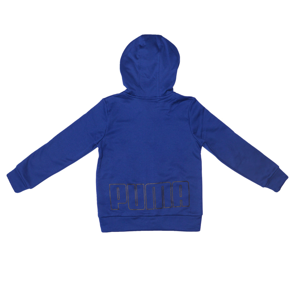 PUMA Big Little Boys Athletic Performance Zip Hoodie Sweatshirt with Full Zip Up and PUMA Block Letter Logo On Back