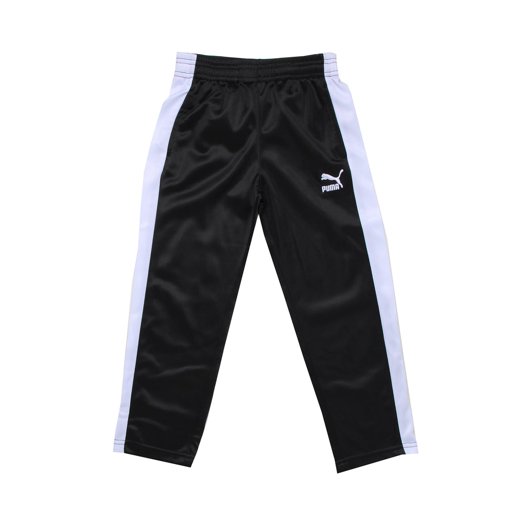 Little boys PUMA solid black track pant workout bottom pants with white athletic stripe down side and big cat logo on leg