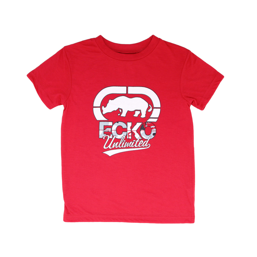 Little boys Marc Ecko short sleeve red graphic tee shirt with white rhino logo