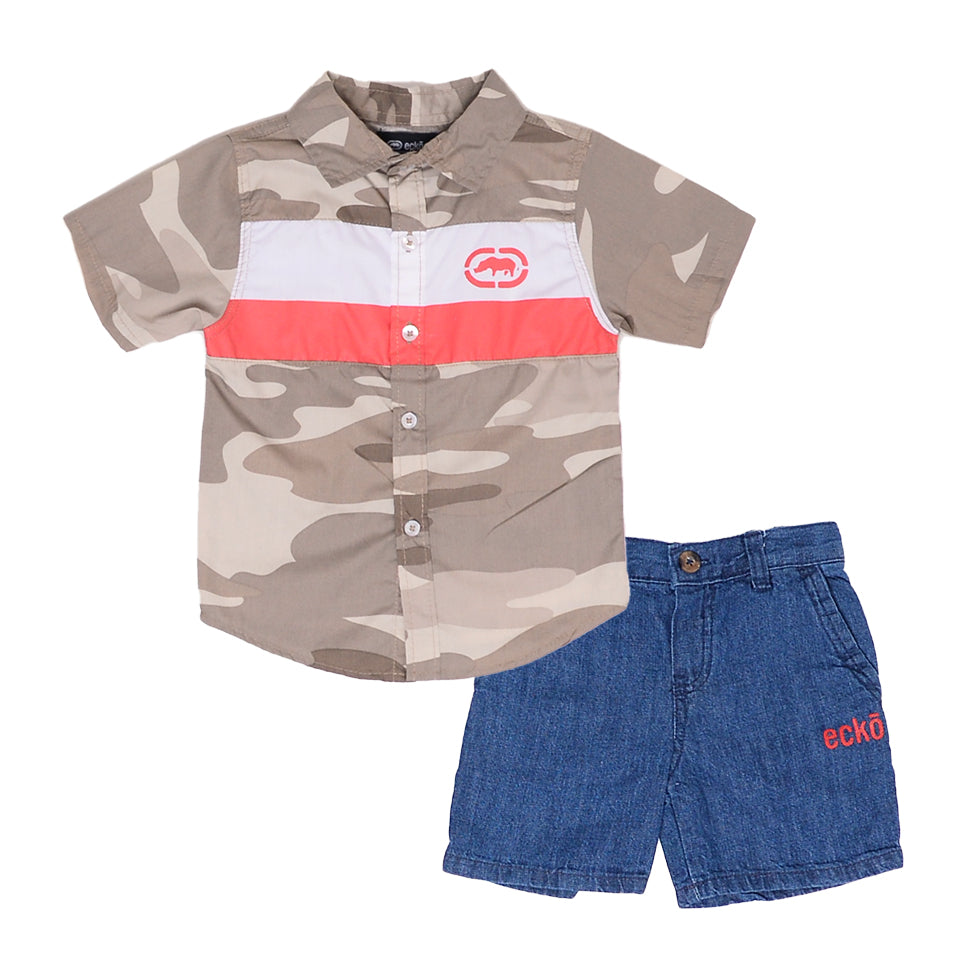 Toddler boys Ecko brand two piece set with beige camo collared button down short sleeve tee shirt and denim jean shorts