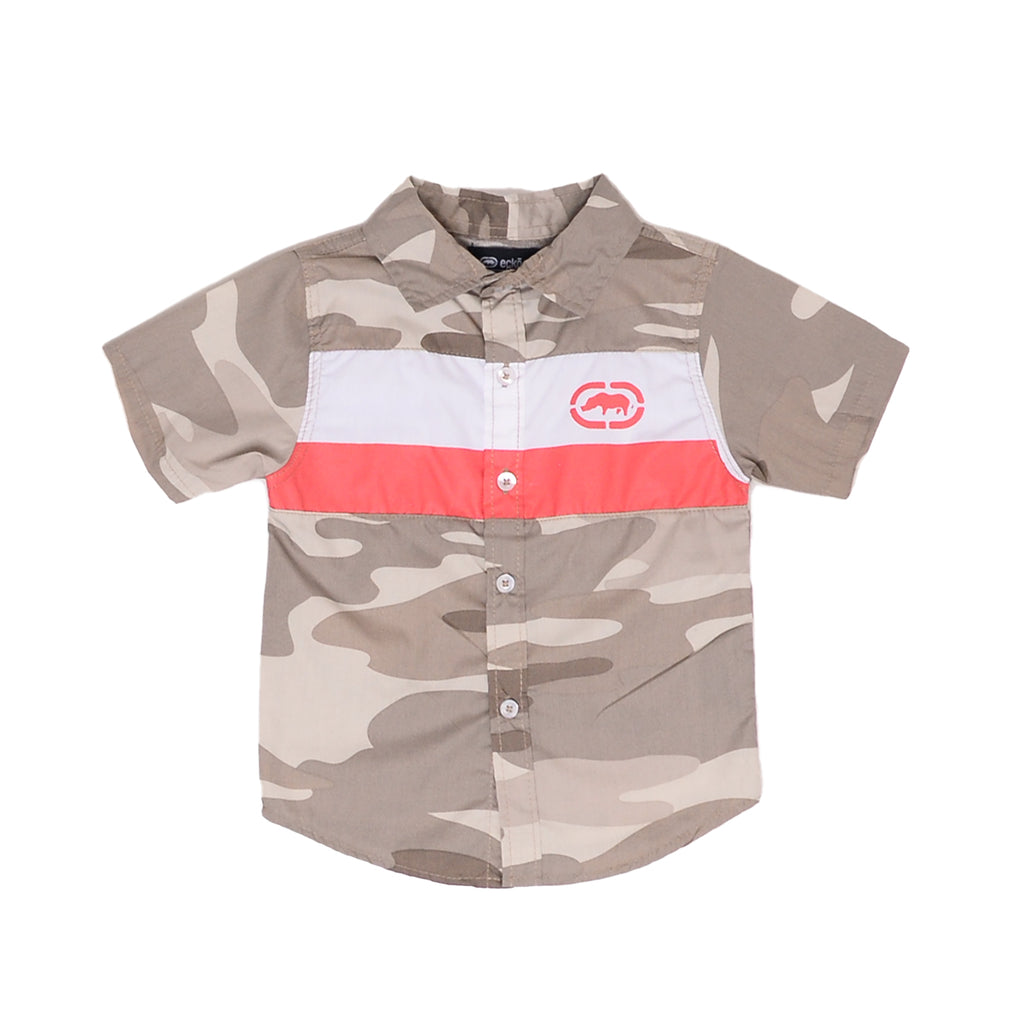 Toddler boys Ecko brand beige camo collared button down short sleeve tee shirt with white and red stripe with rhino logo