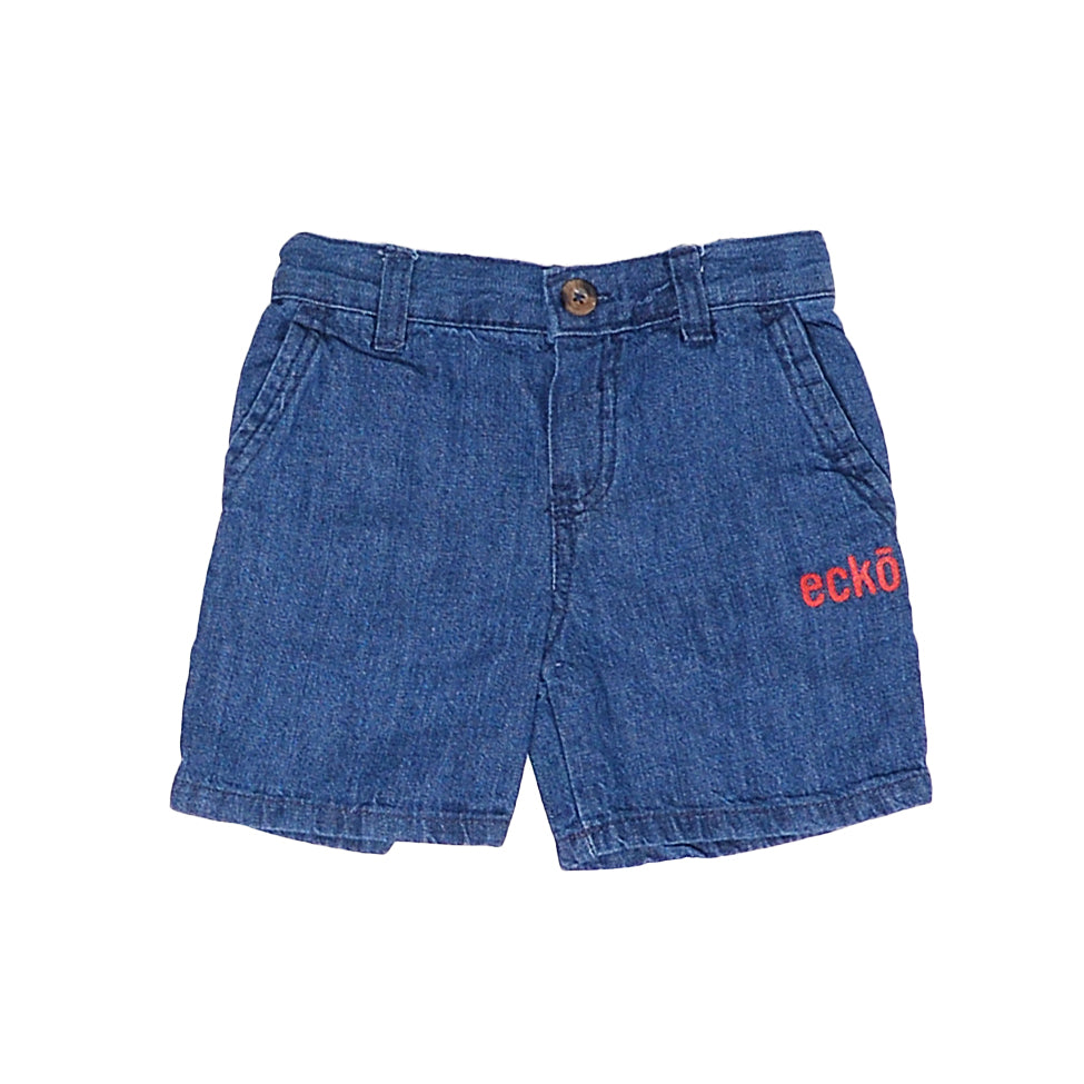Toddler boys Ecko brand medium blue denim jean shorts with red logo on leg with button zipper fly and pockets