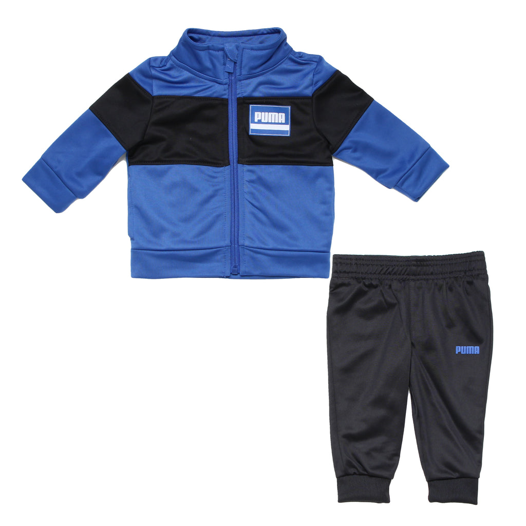 Baby boys PUMA 2 piece athletic track jacket set with longsleeve front zipup sweater in blue and black with matching joggers