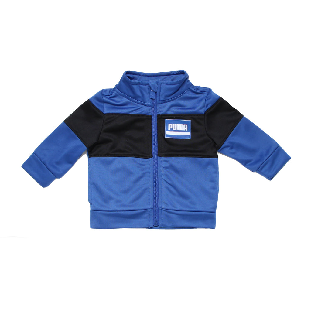 Baby boys PUMA athletic zippered full front zipup track jacket long sleeve sweat shirt in dark royal blue with black and logo