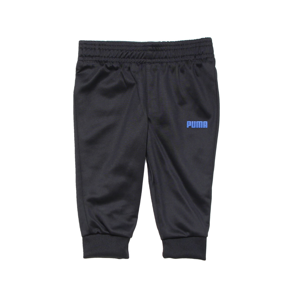 Baby boys PUMA athletic track pants with ribbed cuff jogger bottoms sweat pants in solid black