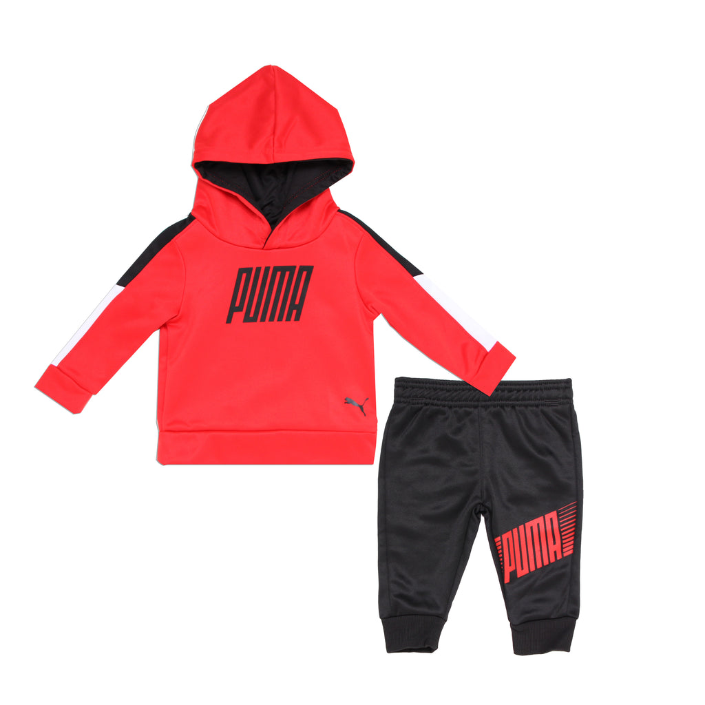 Baby boys PUMA two piece athletic set with longsleeve red hoodie sweatshirt and matching black jogger sweatpants