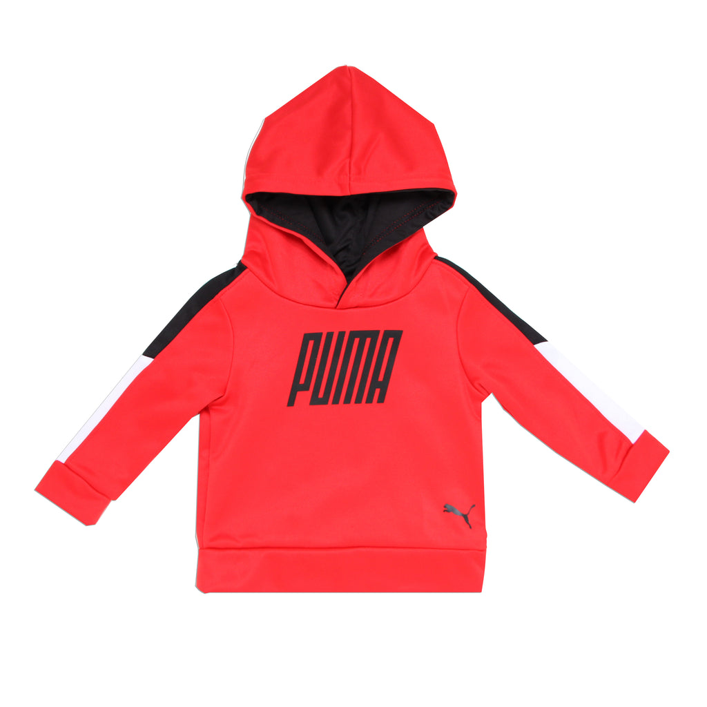 Baby boys PUMA hooded long sleeve red hoodie sweat shirt with black PUMA logo across chest and hidden kangaroo pocket