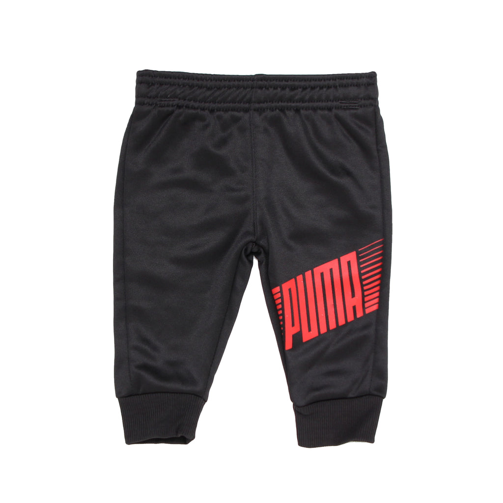 Baby boys PUMA solid black jogger pants with ribbed cinch bottom cuffs and red PUMA logo across leg