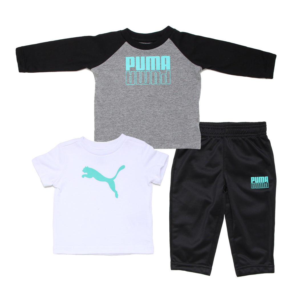 Baby boys PUMA 3 piece set with longsleeve tshirt shortsleeve graphic tee shirt and matching black sweatpant bottoms