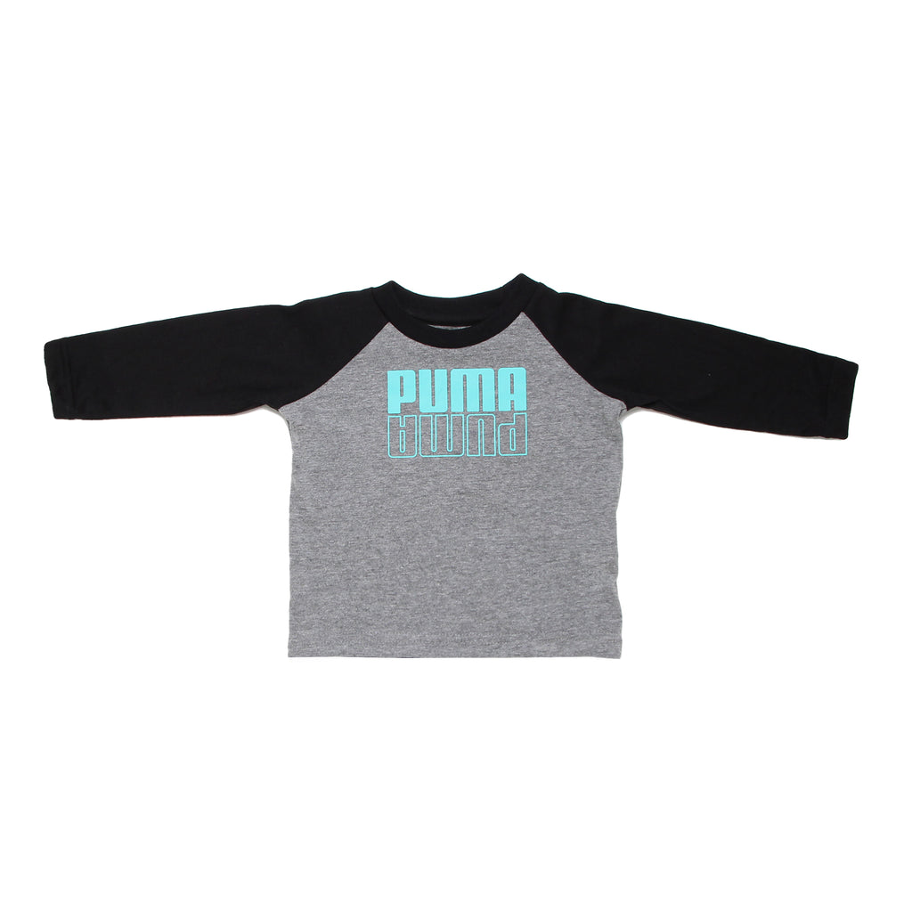 Baby boys PUMA two tone long sleeve graphic tee shirt with grey body and black sleeves with aqua teal turquoise blue logo