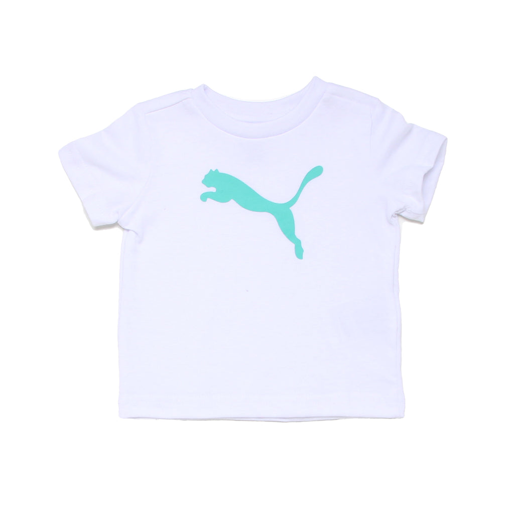 Baby boys PUMA solid white short sleeve graphic tee shirt with aqua teal turquoise blue big cat logo on chest