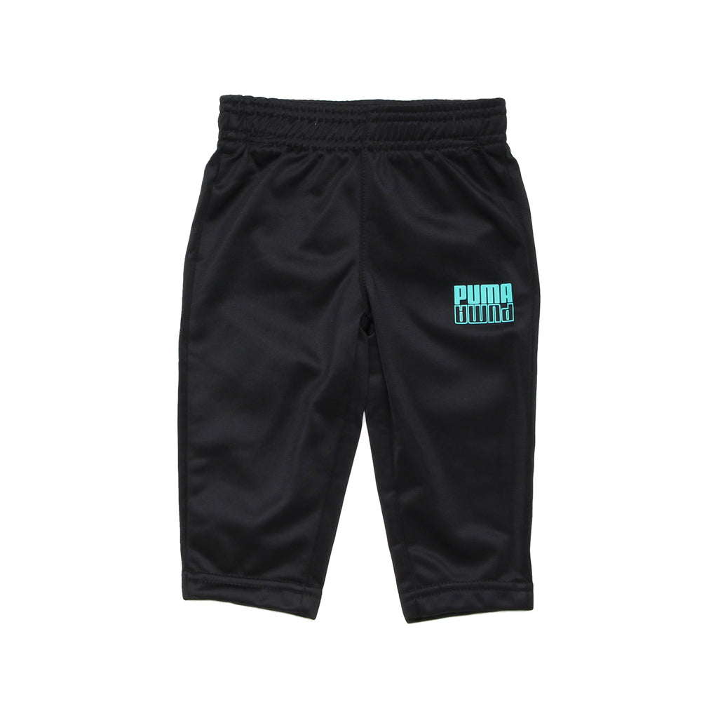 Baby boys PUMA solid black straight leg sweat pants with aqua teal turquoise blue mirror logo on leg part of a set of 3