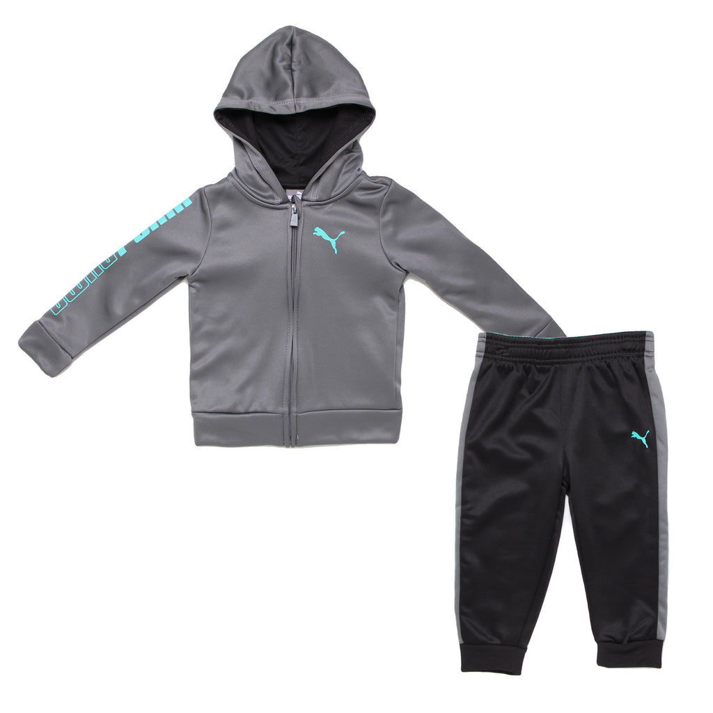 Baby boys PUMA 2 piece set with grey zippered hoodie sweat shirt and matching black and gray cinch bottom jogger sweat pants