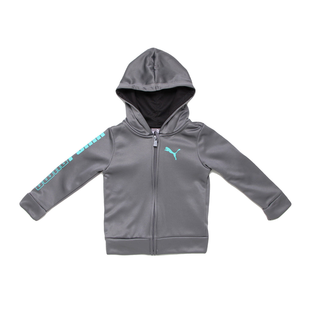 Baby boys PUMA longsleeve grey full front zipper hooded sweatshirt hoodie with black interior and PUMA big cat logo on chest