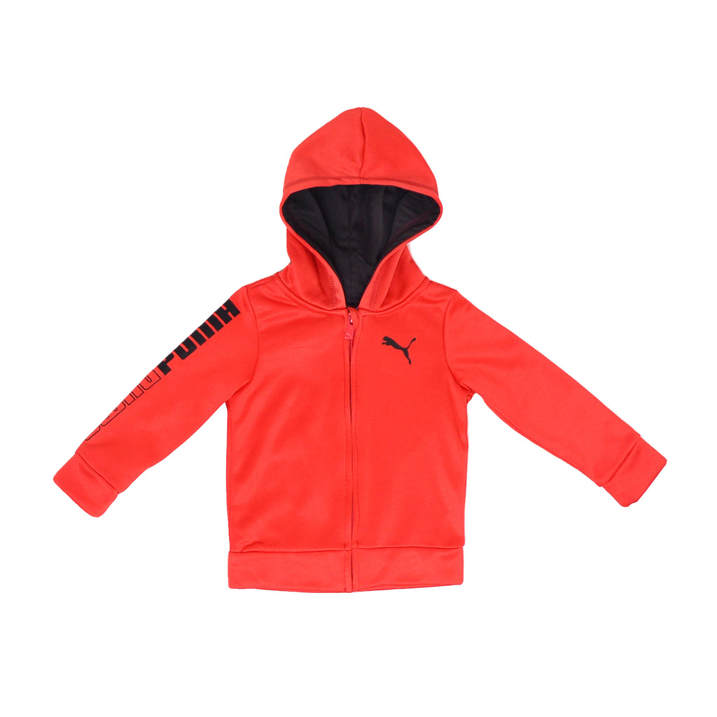Baby boys PUMA longsleeve red full front zipper hooded sweatshirt hoodie with black interior and PUMA big cat logo on chest