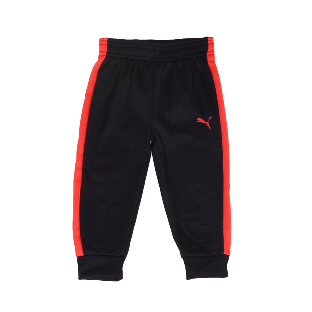Baby boys PUMA black athletic cinch cuff bottom jogger sweatpant bottoms with red side stripe and PUMA big cat logo on leg