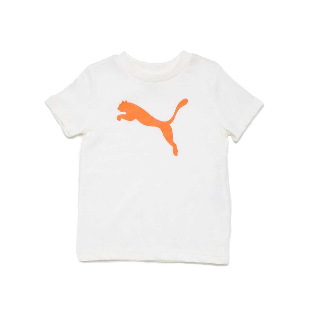 Baby boys PUMA solid white short sleeve crew neck graphic tee shirt with orange big cat logo on chest