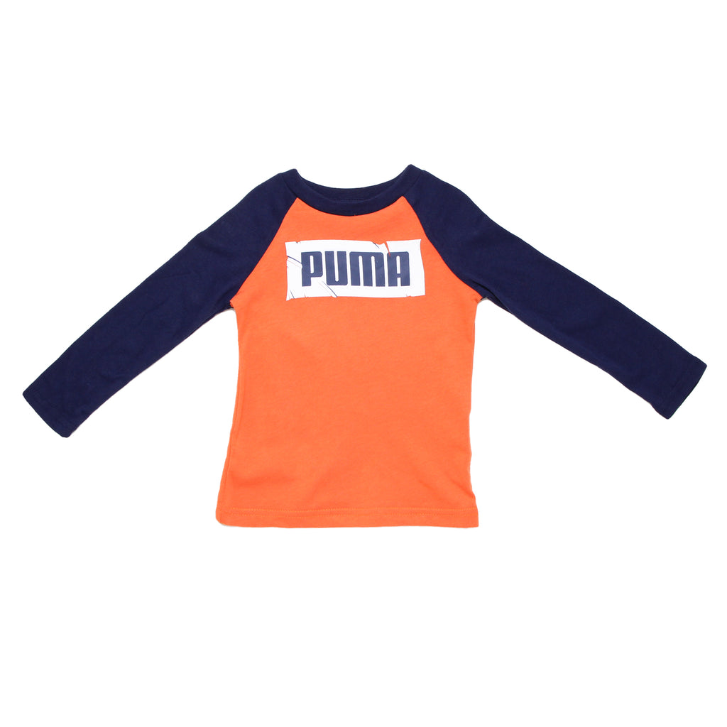 Baby boys PUMA crew neck long sleeve graphic tee shirt with distressed PUMA block logo on chest in orange and navy blue