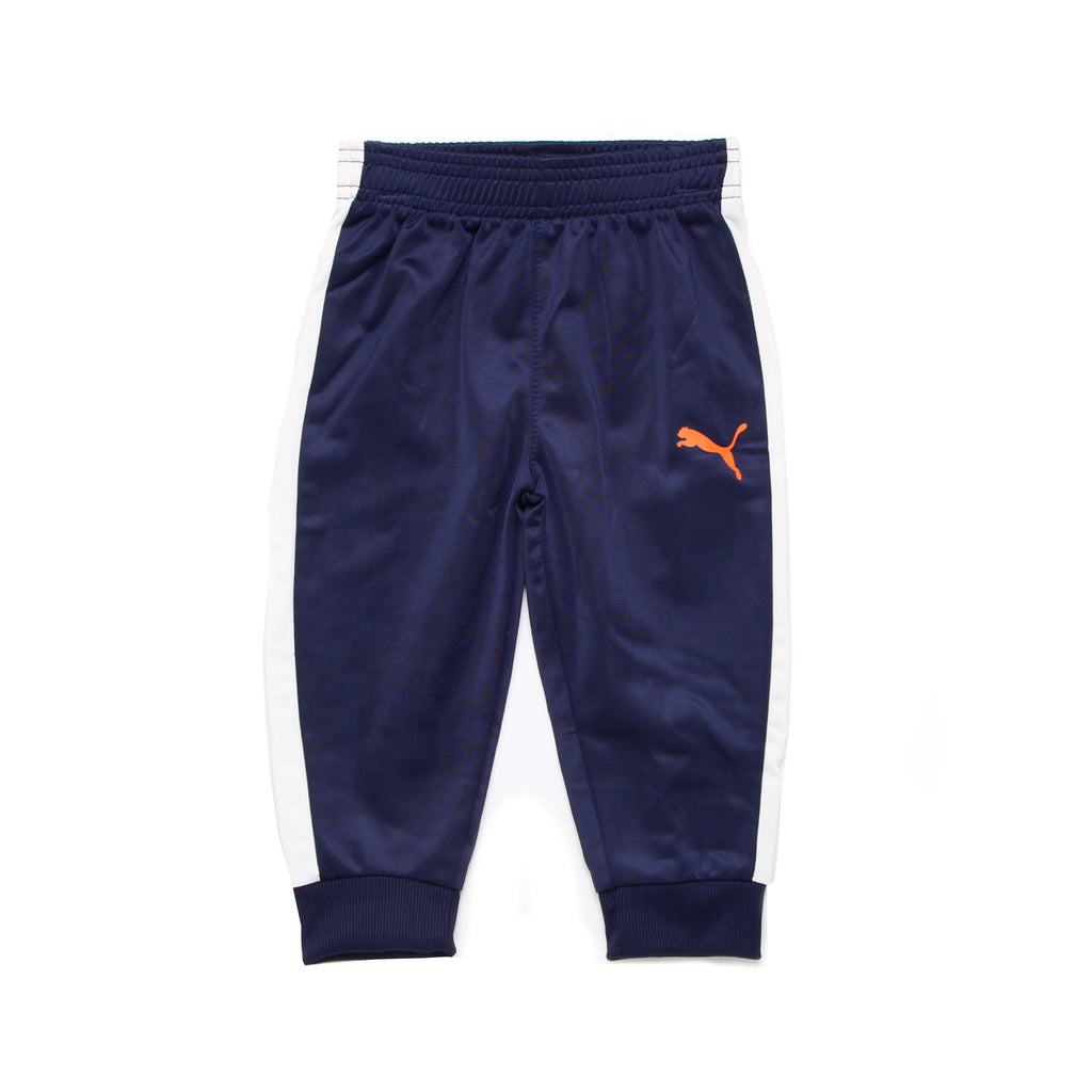 Baby boys PUMA navy blue athletic jogger sweat pant bottoms with white stripe down side of leg and orange big cat logo