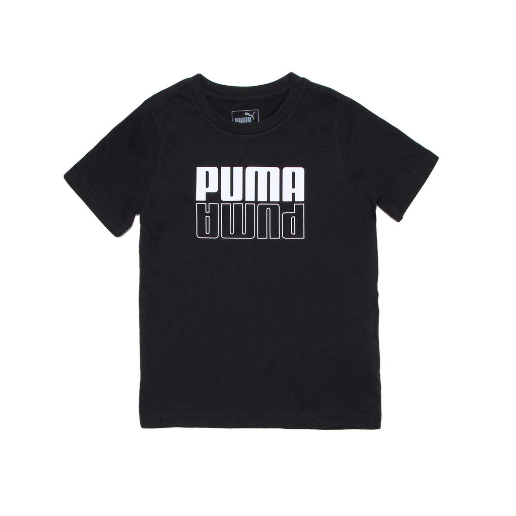 Toddler boys PUMA solid black crew neck short sleeve graphic tee shirt with white PUMA mirror logo on chest branded tshirt