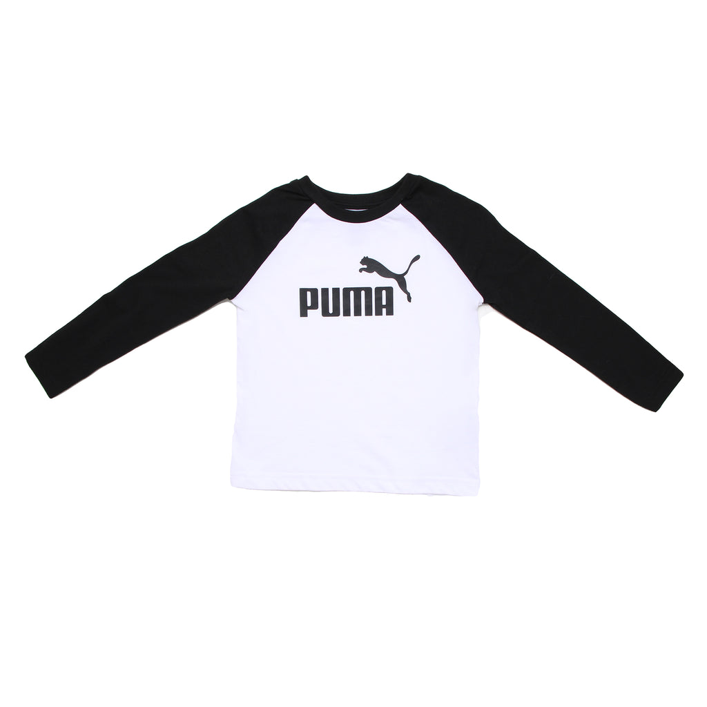 Toddler boys PUMA crew neck long sleeve graphic tee shirt with white chest panel with black big cat logo and black sleeves