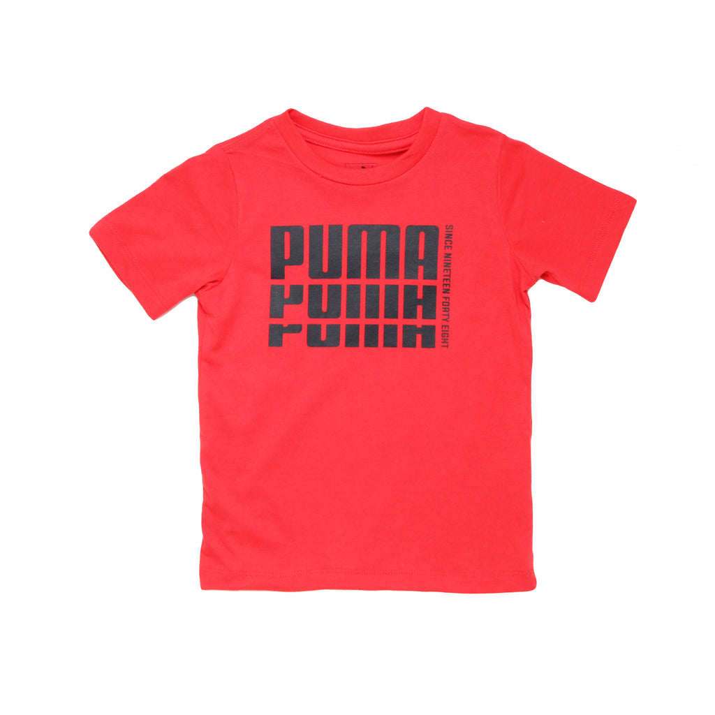 Toddler boys PUMA solid red crew neck short sleeve graphic tee shirt with white PUMA slash logo on chest branded tshirt