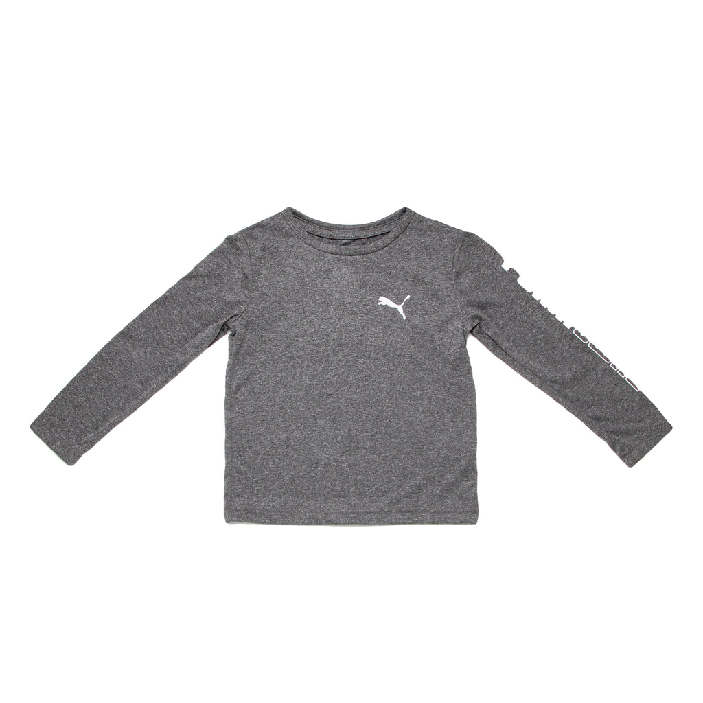 Toddler little boys PUMA heather grey crew neck long sleeve graphic tee shirt with big cat logo on chest and on sleeves