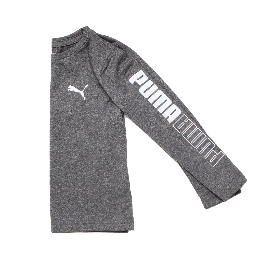 Close up of toddler little boys PUMA heather grey crew neck long sleeve graphic tee shirt showing mirror logo on sleeves