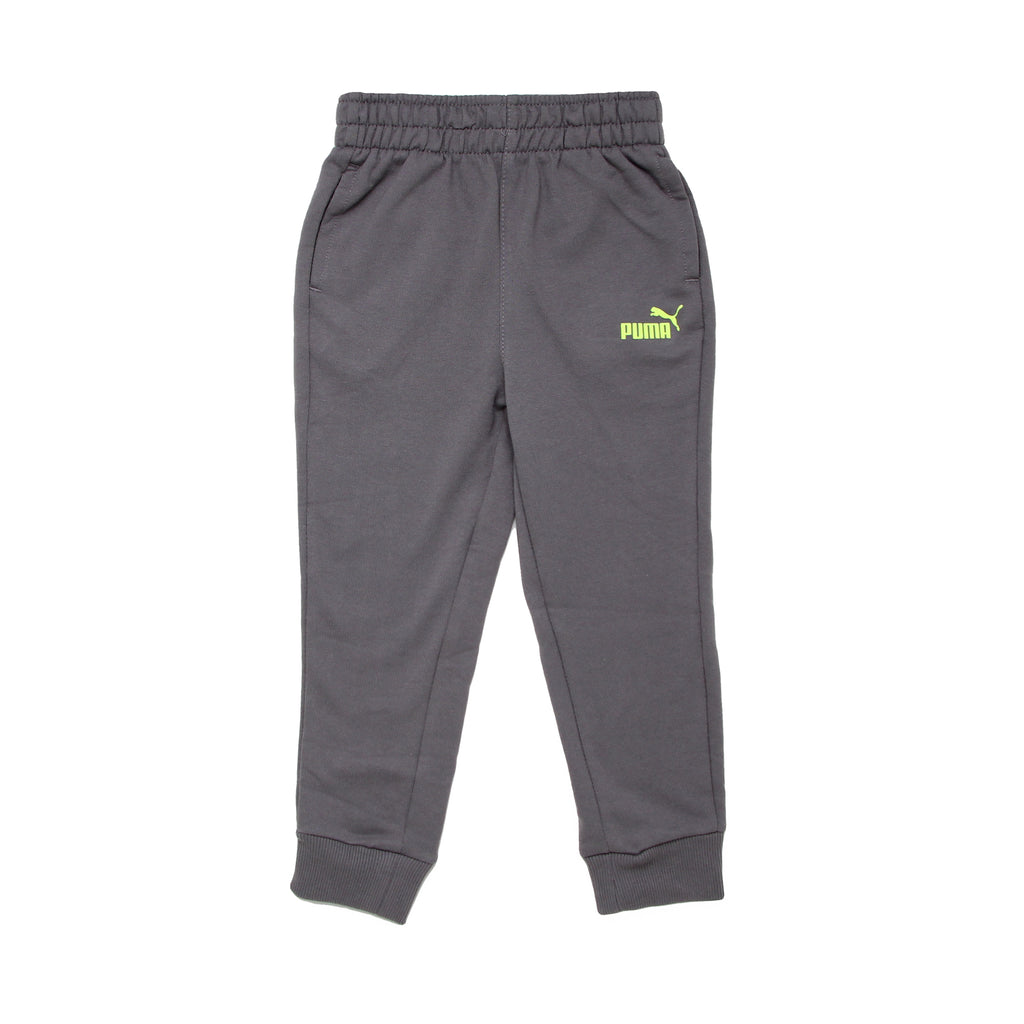 Toddler boys PUMA heather grey athletic sweat pant jogger with ribbed cuff bottoms and neon green yellow big cat logo on leg