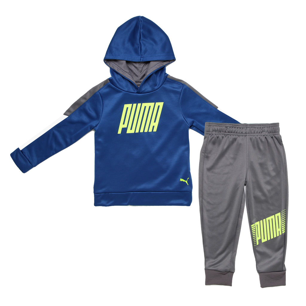 Toddler boys PUMA 2 piece jog set athletic pullover royal navy blue hoodie sweatshirt and matching grey jogger sweatpants