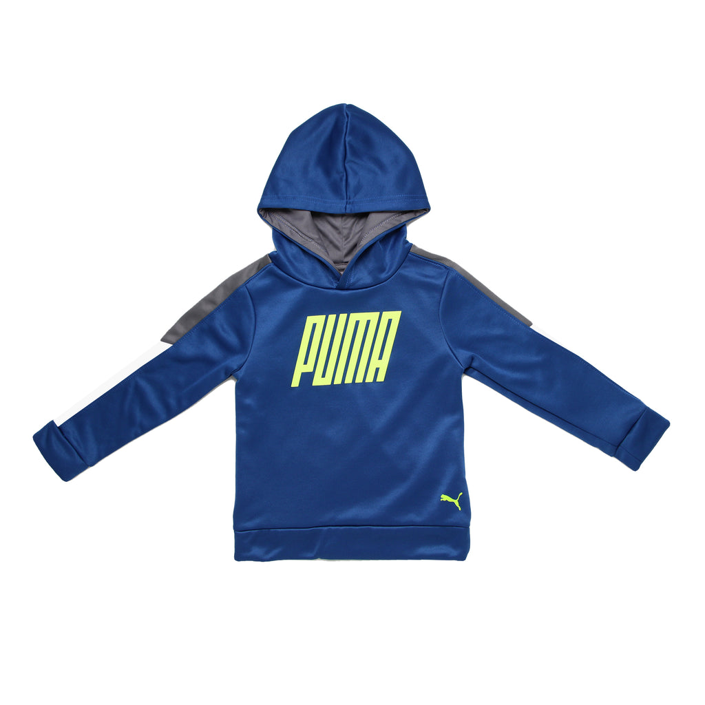Toddler boys PUMA pull over hooded royal navy blue hoodie sweat shirt with neon green logo on chest and grey white sleeves