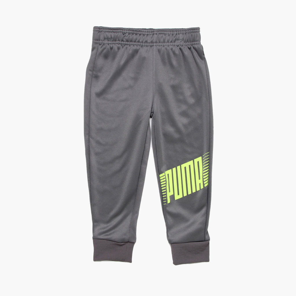 Toddler boys PUMA medium grey athletic sweat pants with jogger cuff bottoms and neon green logo on leg