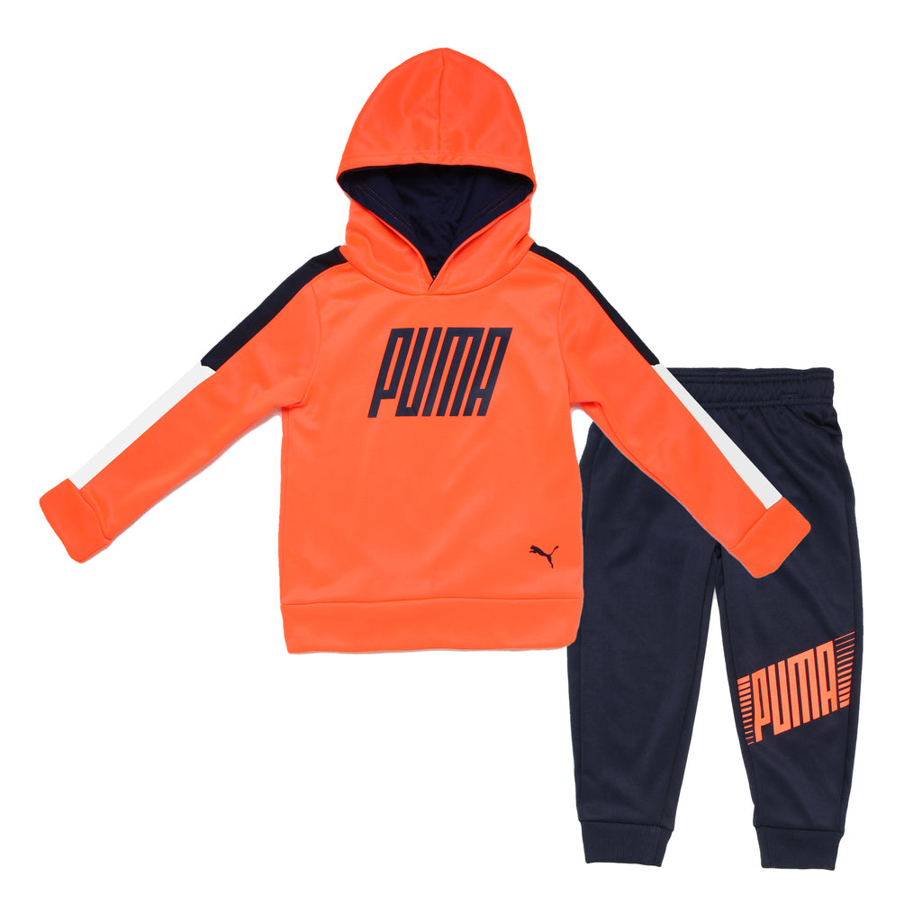 Toddler boys PUMA 2 piece jog set athletic pullover bright orange hoodie sweatshirt and matching black jogger sweatpants