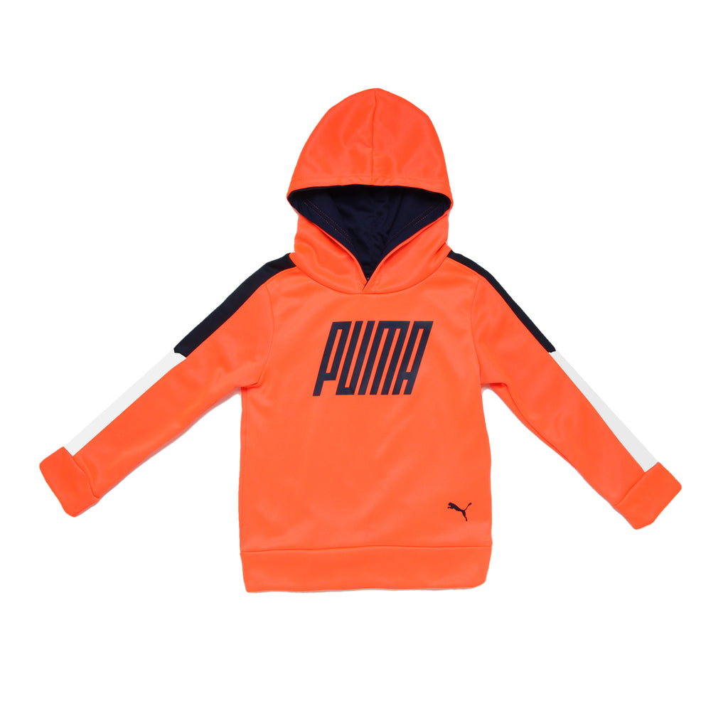 Toddler boys PUMA pull over hooded bright orange hoodie sweat shirt with black logo on chest and black and white sleeves