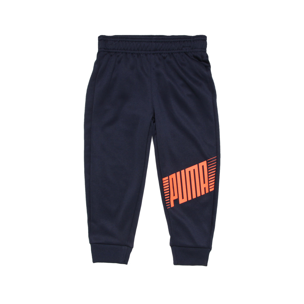 Toddler boys PUMA solid black athletic sweat pants with jogger cuff bottoms and bright orange logo on leg