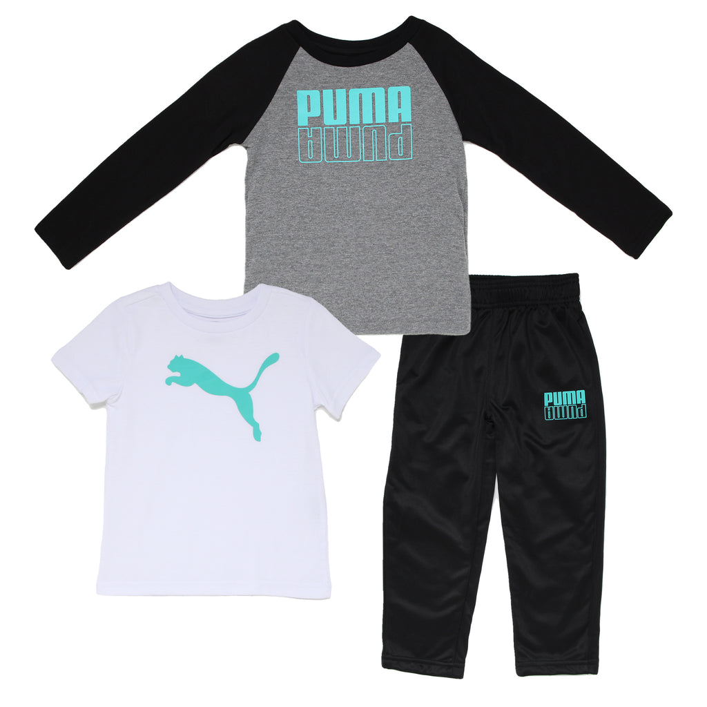 Toddler boys PUMA 3 piece set with longsleeve graphic tee shirt shortsleeve graphic tshirt and matching athletic sweatpants