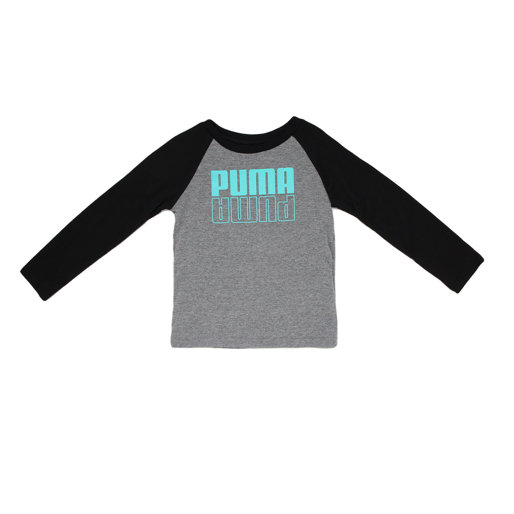 Toddler boys PUMA two tone long sleeve crew neck graphic tee shirt with grey chest panel aqua mirror logo and black sleeves