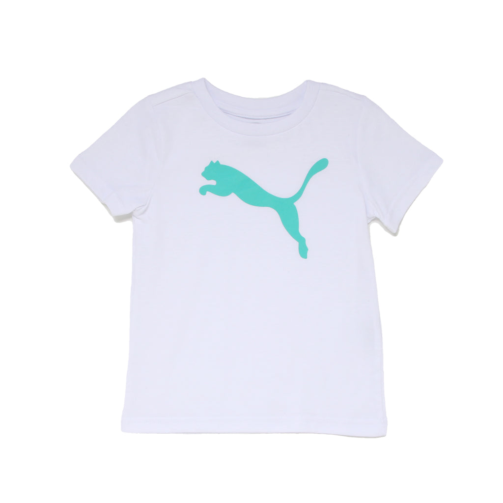 Toddler boys PUMA solid white short sleeve crew neck graphic tee shirt with aqua turquoise teal blue big cat logo on chest