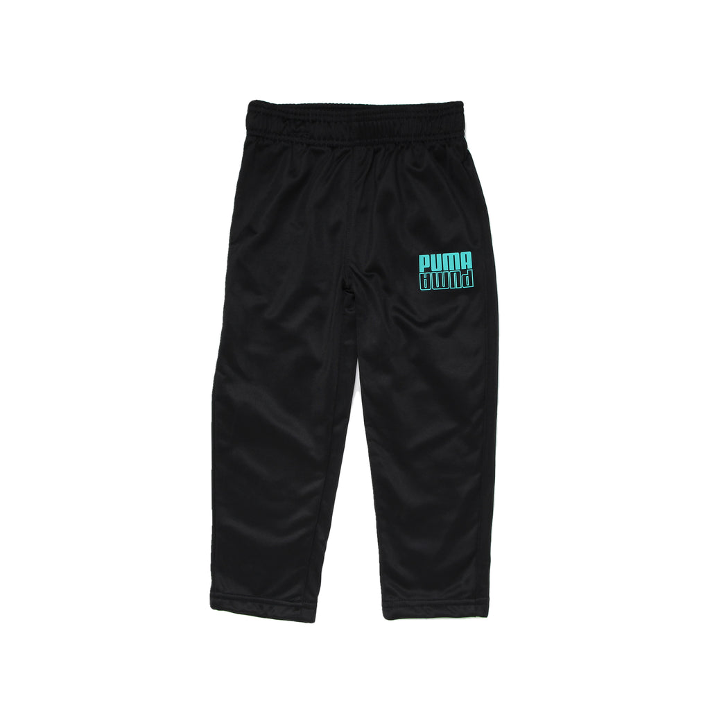 Toddler boys PUMA solid black athletic trackpants sweat pant bottoms with elastic waistband and turquoise blue logo on leg