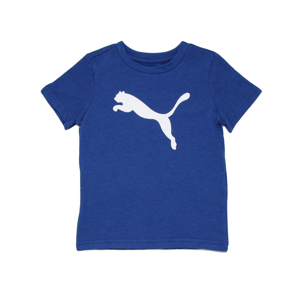 Toddler boys PUMA royal blue short sleeve crew neck graphic tee shirt with white big cat logo on chest